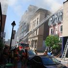Intersection rue St-André et Ste-Catherine, 10-14 Incendie