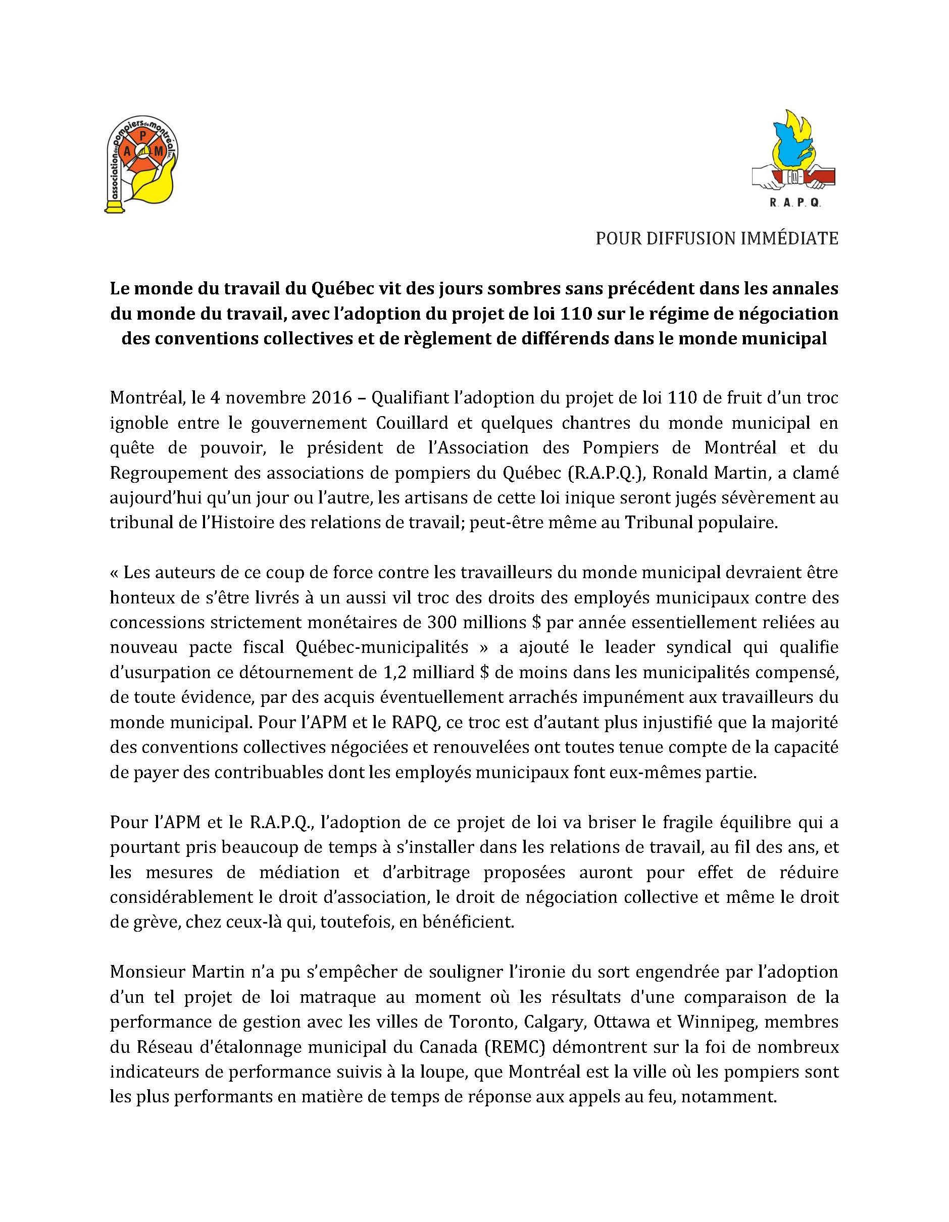 Communiqué - Adoption projet loi 110