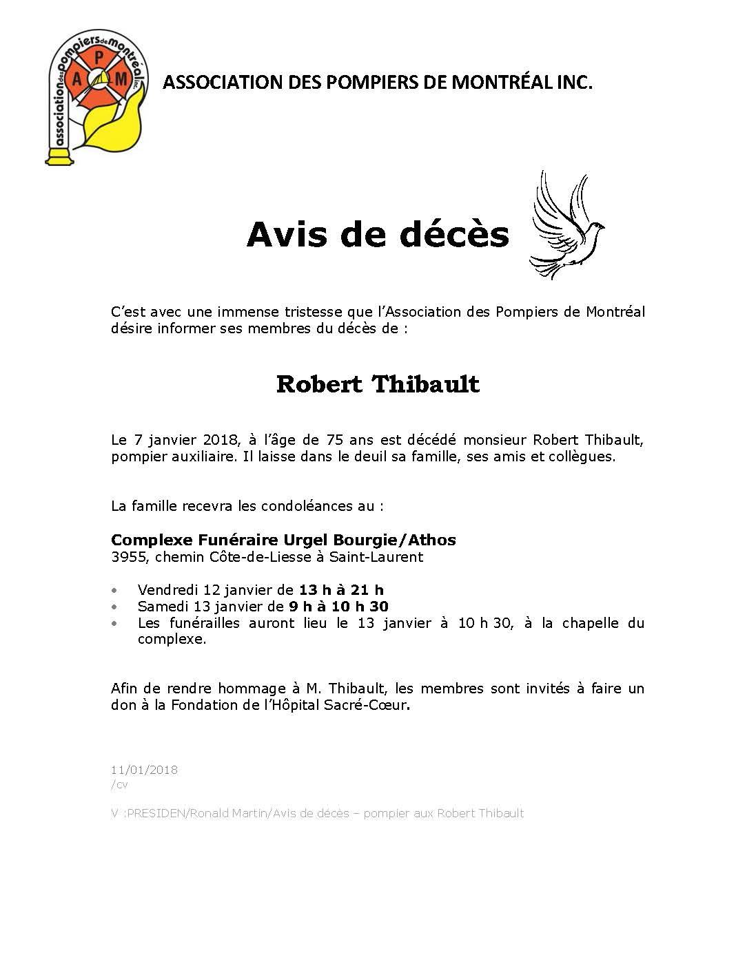 Avis de déces M Thibault