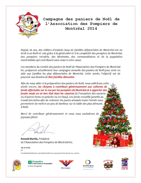panier de noel 2018 montreal Campagne des paniers de Noël de l'Association des Pompiers de  panier de noel 2018 montreal