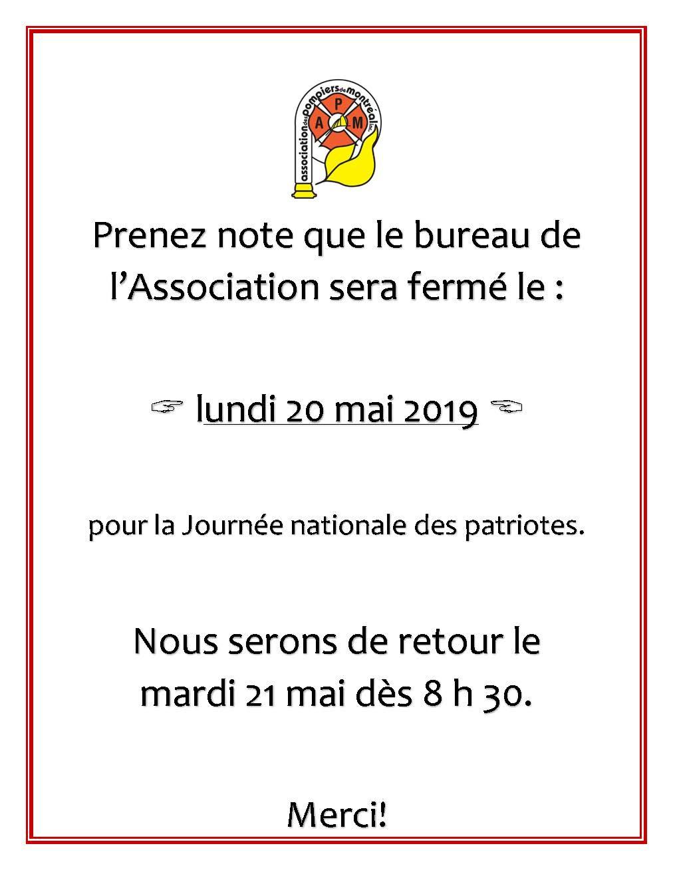 Fermeture APM lundi 20 mai 2019